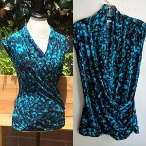 Chaus Teal Blue/Black Abstract Print Wrap Top S